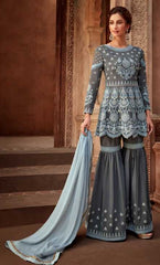 Bluish Grey Georgette Party Wear Salwar Kameez With  Dupatta