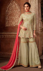 Olive Green Georgette Party Wear Suit With  Dupatta
