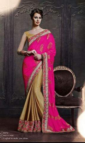 Designer Pink and beige saree with zari work for women