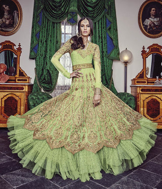 Heavy Party Wear Green Anarkali Suits