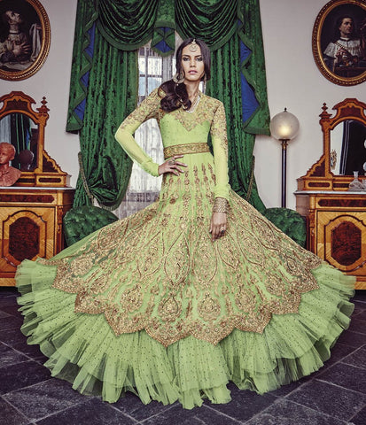 Green,Net,Heavy designer anarkali suits