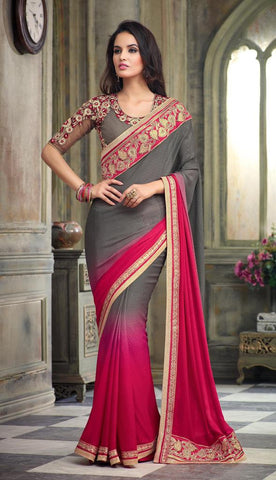 Designer party wear saree with heavy embroidery,Gray , Pink,Chiffon Jacard Shaded