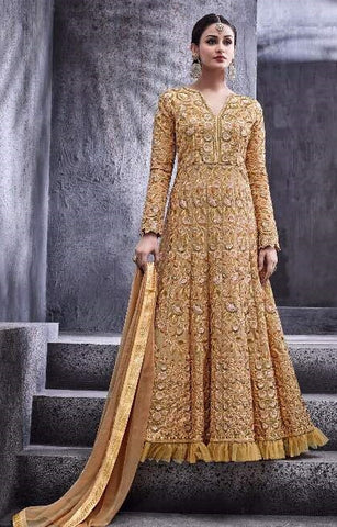 Beige Golden Zari Work Abaya Style Anakarli Dress With Dupatta