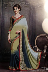 Bamberg Georgette Designer Saree In Double Shades
