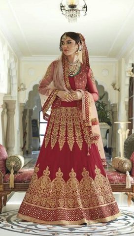 Abaya/Dhoti Style Net Sequence worked Red Anarkali Style Dress With Dupatta