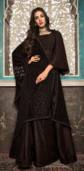 Black Pure Silk Party Wear Salwar Suit With  Dupatta