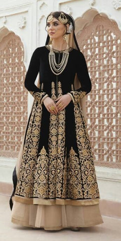 Black Embrodiere Multiple Style Jacket Anarkali Type Dress With Dupatta