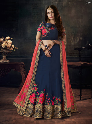 Navy Blue Silk Lehenga With Peach Dupatta