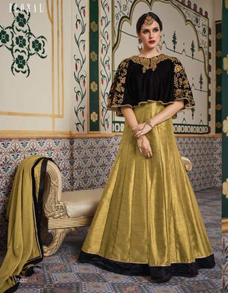 Golden Black Velvet Party Wear  Anarkali With Beige Dupatta