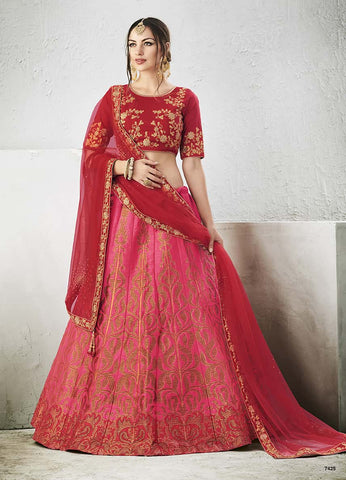 Silk Pink Lehenga Red Blouse With Embroidery With Dupatta