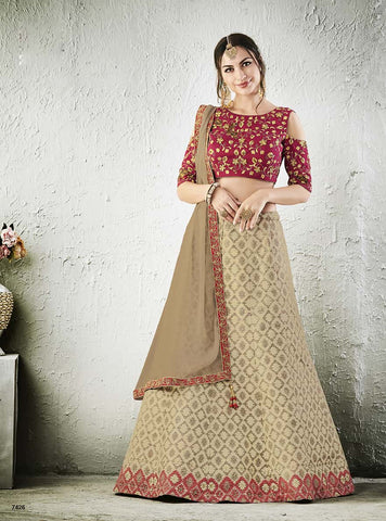 Cream/Beige Lehenga With Pink Choli and Beige Dupatta