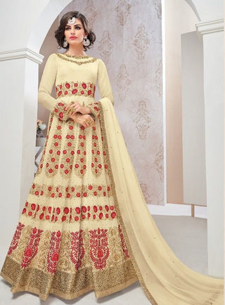 Beige/Cream Heavy Embroidered Zari Abaya Style Anarkali Suit With Dupatta