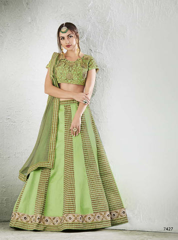 Silk Green Lehenga With Green Choli And With Dupatta