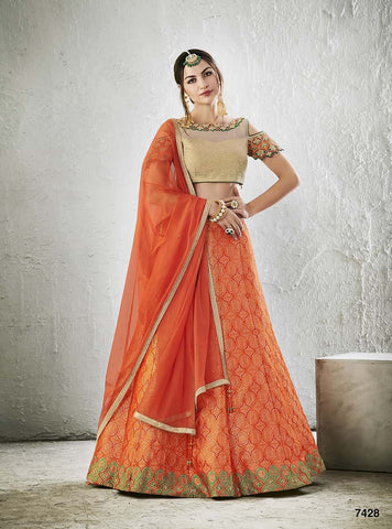 Orange Silk Lehenga Net Beige Blouse With Dupatta