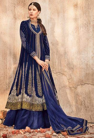 Blue Velvet Party Wear  Anarkali With Blue Dupatta