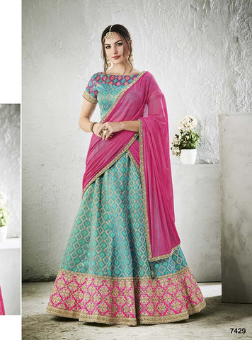 Blue Silk Lehenga With Blue Choli And Pink Dupatta