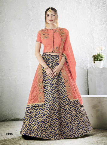 Silk Blue Lehenga With Pink Blouse and Pink Dupatta