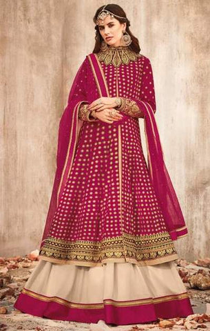 Pink White Net Party Wear  Anarkali Suit With Pink Dupatta