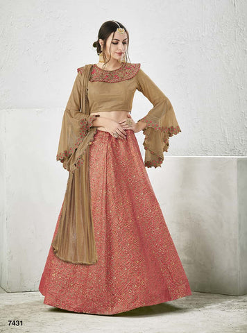 Silk Peach Color Lehenga With Beige Choli And Dupatta