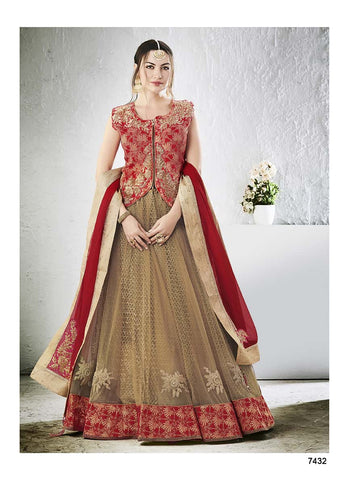 Beige Lehenga Red Choli With Biege Dupatta
