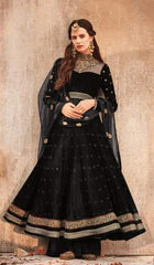 Black Net Party Wear  Anarkali Dress With Black Dupatta