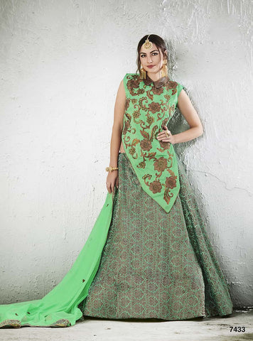 Silk Green lehenga With Green Choli And Dupatta
