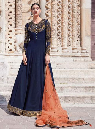 Blue Georgette Party Wear  Anarkali Suit With Orange Dupatta