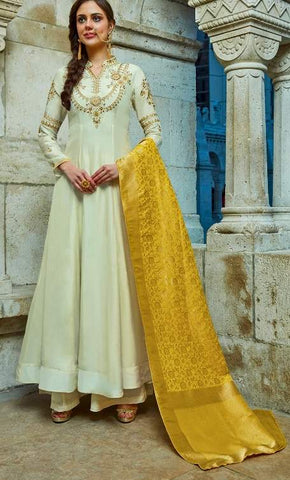 White Silk Embroidered Work Anarkali With Yellow Dupatta