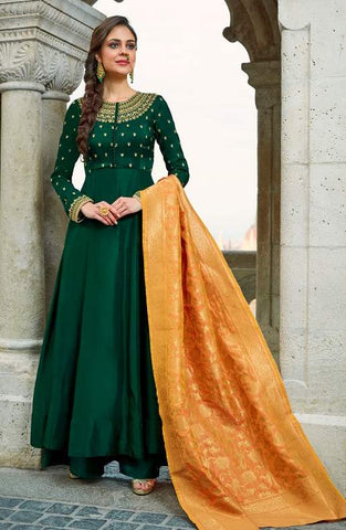 Green Silk Embroidered Work Anarkali Dress With Orange Dupatta