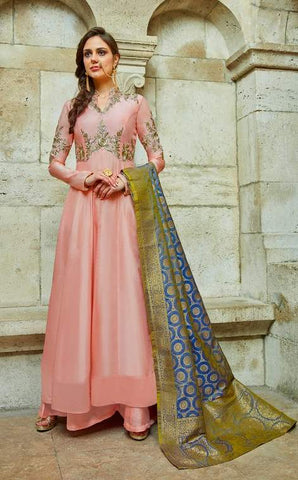 Peach Silk Embroidered Work Anarkali Suit With Blue Dupatta