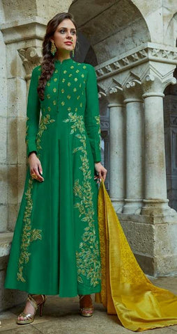 Green Silk Embroidered Work Anarkali Suit With Yellow Dupatta