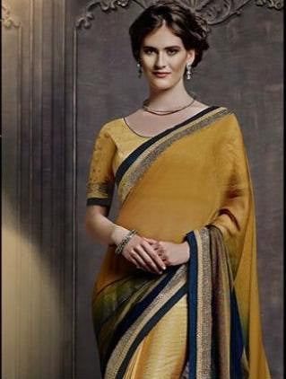 Designer yellow color half half saree for parties