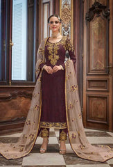 Wine Georgette Party Wear Suit With  Dupatta