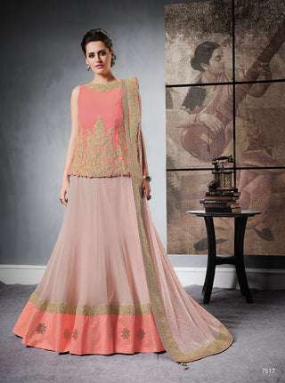 Pink Lehenga In Jacquard Silk With Dupatta And Choli