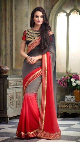 Designer party wear saree with heavy embroidery,Multi,Georgete Jacard Shaded