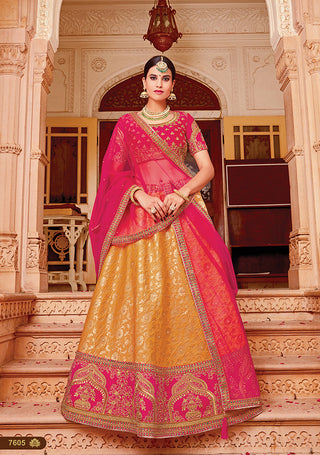 Orange Silk Party Wear  Lehenga With Pink Dupatta