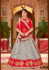 Grey Silk Party Wear  Lehenga With Red Dupatta