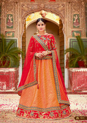 Orange Silk Party Wear  Lehenga With Red Dupatta