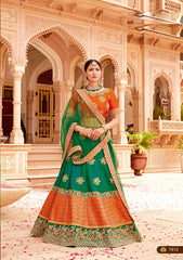 Orange Green Silk Party Wear  Lehenga With Green Dupatta