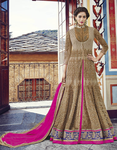 Beige , Pink,Net,Heavy party wear designer anarkali suits
