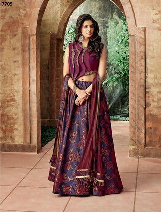 Purple Jacquard Silk Party Wear  Lehenga With Magenta-Gold Dupatta