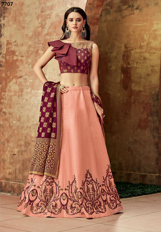 Peach Silk Party Wear  Lehenga With Maroon Dupatta