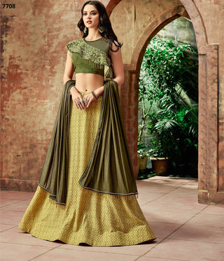 Yellow Fancy Lycra Party Wear  Lehenga With Olive Green Dupatta