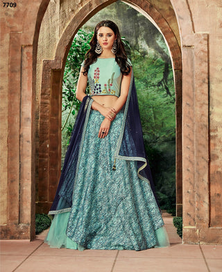 Sea Blue Silk Party Wear  Lehenga With Navy Blue Dupatta