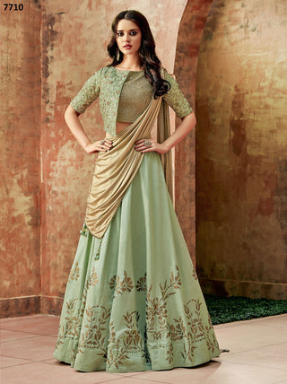 Pastel Green Silk Party Wear  Lehenga With Gold Dupatta