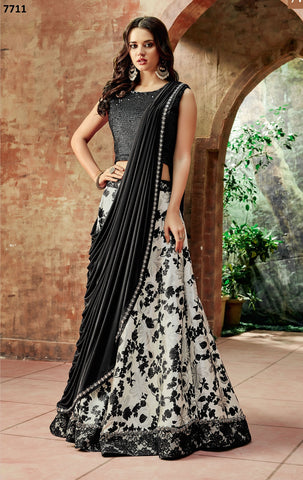 Off-White Jacquard Silk Party Wear  Lehenga With Black Dupatta