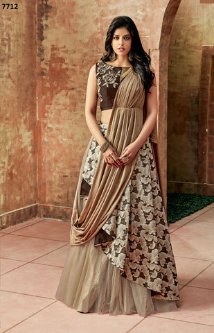 Chiku  Net Party Wear  Lehenga With Gold Dupatta