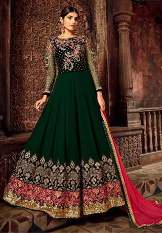 Green Georgette Party Wear Anarkali Suit With Peach Dupatta