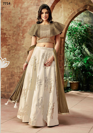 Cream Jacquard Silk Party Wear  Lehenga With Brown Dupatta