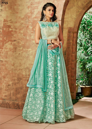 Sea Green Tissue Party Wear  Lehenga With Sea Green Dupatta